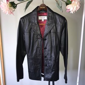 Black Leather Button & Belted Coat